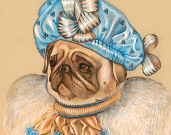 Pug Art Print - Lady Azure - Dog Lover Gifts & Wall Art - Dog Portraits by Animal Century
