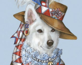 Berger Blanc Suisse Art Print - Lady - Dogs in Clothes Art, Gifts - Pet Kingdom by Maria Pishvanova