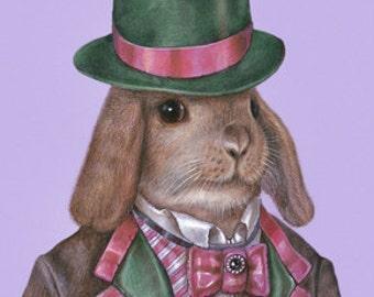 Rabbit Art Print - Dandy Rabbit - Cute Pet Rabbit Wall Art - Pets in Art - Whimsical Animal Portraits by Maria Pishvanova