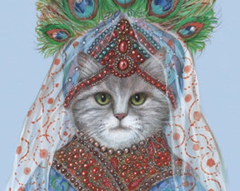 Cat Princess of the East - Cat Art Print - Pets in Art - Peacock Feathers Art - Whimsical Animal Portraits by Maria Pishvanova