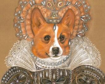 Corgi. The Queen / Welsh Corgi / Corgi Art Print / Royal Dog Portraits of Animal Century