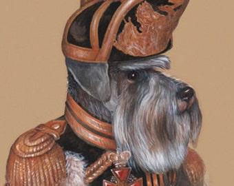 Miniature Schnauzer. The Officer / Schnauzer Art Print / Military Dog Art Gallery of Animal Century