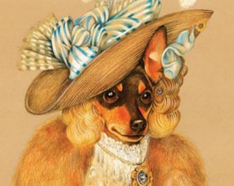 Miniature Pinscher. The Ballerina / Min Pin Art Print / Lady Dog Portraits of Animal Century