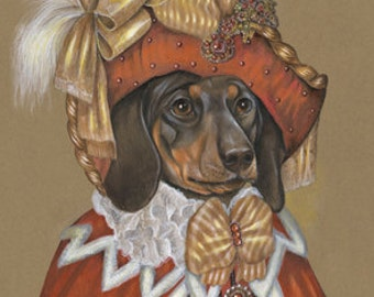 Dachshund Art Print - Lady Noble - Gifts for Dog Lovers, Posters - Red - Pet Portraits by Maria Pishvanova
