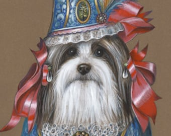 Havanese Art Print - Lady - Dogs in Clothes Art - Toy Dog Fashion - Pet Kingdom by Maria Pishvanova