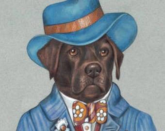 Labrador Retriever Art Print - Jazzman - Cute Dog Wall Art - Pets in Art - Whimsical Dog Portraits by Maria Pishvanova