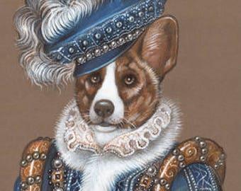 Welsh Corgi Cardigan Art Print - The King - Royal Dog Wall Art - Pets in Costumes - Whimsical Dog Portraits by Maria Pishvanova