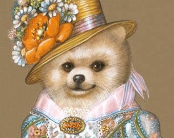 Pomeranian Art Print - Lady Wildflower - Cute Dog Wall Art - Pets in Art - Whimsical Dog Portraits by Maria Pishvanova