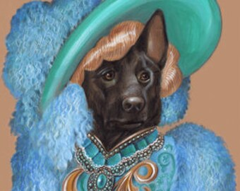 Black German Shepherd Art Print - Movie Star - Cute Dog Wall Art - Pets in Art - Whimsical Dog Portraits by Maria Pishvanova