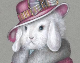 Rabbit Art Print - Lady Rabbit in Pink - Cute Pet Rabbit Wall Art - Pets in Art - Whimsical Animal Portraits by Maria Pishvanova