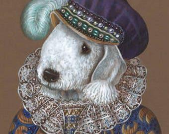 Bedlington Terrier Art Print - Prince - Royal Dog Wall Art - Dogs in Costumes - Amazing Dog Portraits by Maria Pishvanova