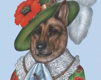 German Shepherd Art Print - Lady Poppy - Cute Dog Wall Art - Flower Prints - Red and Green - Dog Portraits by Maria Pishvanova