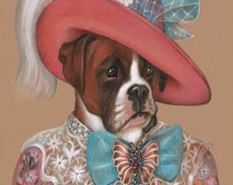 Boxer Art Print - Lady Augustina - Dog Wall Art - Dogs in Hats - Pink Flower Print - Dog Portraits by Maria Pishvanova