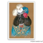 Poodle Art Print - Lady Chic - Dog Lover Gifts and Dog Wall Decor - Black Poodle - Dog Portraits by Maria Pishvanova