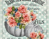 French Pumpkin Wreath Signs - Shabby Pumpkin and Rose Sign For Fall Wreaths