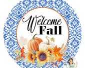 Mini Welcome Fall Blue and Orange Pumpkin Metal Wreath Sign - 8 quot Circle Shaped Fall Wreath Attachment