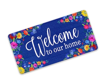Welcome To Our Home Blue Floral Metal Wreath Sign