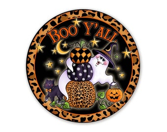 Boo Y'all Ghost and Pumpkin Sign For Halloween Wreaths - Choose Your Size Circle Wreath Attachment