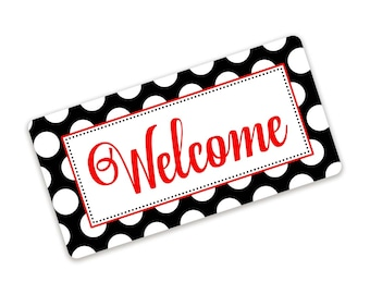 Black and White Polka Dot Welcome Wreath Sign