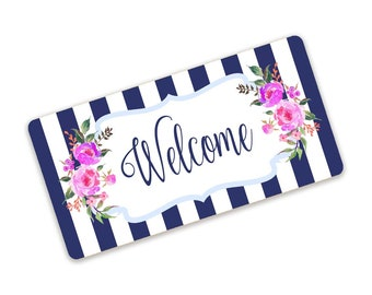 Blue And White Stripe Pink Floral Welcome Sign For Spring Wreaths