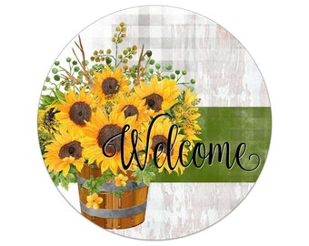 Sunflowers In Whiskey Barrel Rustic Welcome Wreath Sign - Choose Your Size