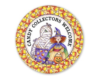 Candy Collectors Welcome Here Mummy and Witch Round Metal Wreath Sign - 10 Inches