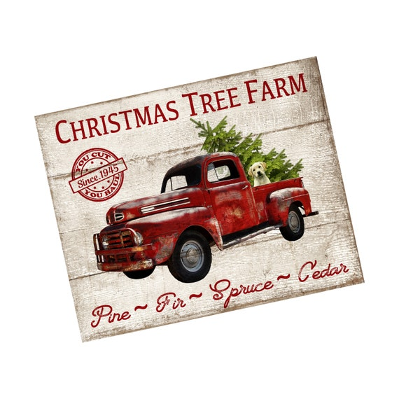Vintage Red Truck Christmas Decor.Vintage Red Truck Christmas Tree Farm Sign For Wreaths Metal Christmas Sign For Wreaths Christmas Wreath Sign Red Truck Decor