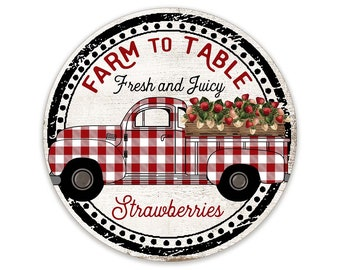 Farm To Table Strawberry Wreath Sign  - Red and White Plaid Strawberry Truck Wreath Sign - Summer Wreath Attachment