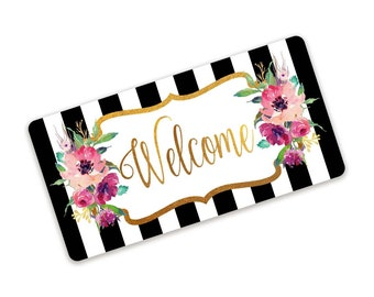 Black And White Stripe Pink Floral Welcome Sign With Gold Accents For Wreaths