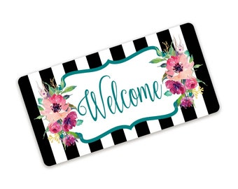 Black and White Stripe Pink and Teal Floral Welcome Wreath Sign
