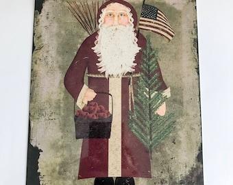 Primitive Christmas Sign - Prim Santa Sign - Wreath Sign - Wreath Attachment