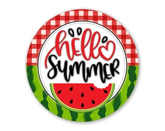 Hello Summer Watermelon Metal Wreath Sign - Choose Your Size Round Metal Wreath Attachment For Summer Wreaths