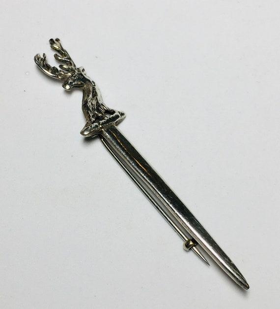 Edwardian silver paste dagger sword brooch pin