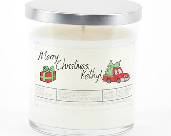 Personalized Merry Christmas Candle, Hostess Gift, Stocking Stuffer, Christmas Gifts for Coworkers, Rustic Gift Ideas, Custom Candle