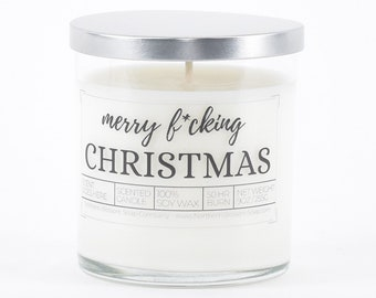 Merry Fcking Christmas Candle, Funny Christmas Decor, Funny Candle, Christmas Gift for Best Friend, Stocking Stuffer, Personalized Gift