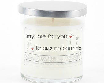 Personalized Long Distance Relationship Gift, Valentine's Day, Soy Candle, Long Distance Mom, Anniversary Gift for Girlfriend, Couples Gift