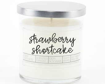 Strawberry Shortcake Scented Soy Candle, Eco Friendly Candle, Christmas Gift For Her, Holiday Gift, Housewarming Gift, Stocking Stuffer