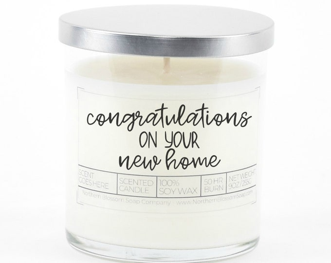 Congratulations Gift, New Home Gift, Custom Soy Candle, Personalized Housewarming Gift, First Home Gift, Congrats Closing Gift from Realtor