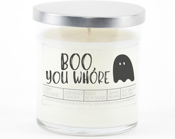 Boo You Whore Candle, Funny Halloween Decor, Halloween Candle, Custom Candle, Halloween Party Favor, Halloween Gifts, Halloween Decoration