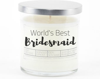 Bridesmaid Gift, Personalized Bridal Shower Favors, Customized Soy Candle, Bridesmaid Proposal, Wedding Party Gift, Matron of Honor Gift