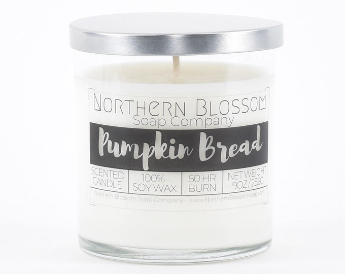 Pumpkin Bread Scented Soy Candle, Eco Friendly Candle, Christmas Candle, Holiday Decor, Holiday Gift, House Warming Gift, Stocking Stuffer