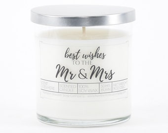 Newlywed Gift, Scented Candle, Bridal Shower Gift, Wedding Shower Gift, Wedding Gifts, Candle Wedding Favor, Congratulations Gift for Bride
