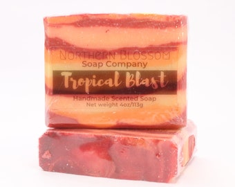 Handmade Soap, Tropical Blast Soap, Gift for Her Under 10 Dollars, Best Friend Gift, Birthday Gift, Spa Gift Idea,Cold Process Homemade Soap