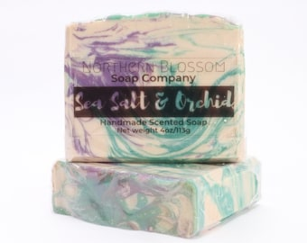 Sea Salt Orchid Homemade Soap, Cold Process Soap, Handmade Bar Soap, Birthday Gift For Mom, Best Friend Gift, Coworker Gift, Thank You Gift