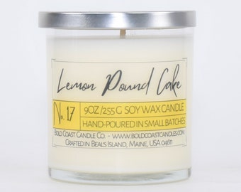 Lemon Pound Cake Scented Soy Candle, Eco Friendly Candle, Christmas Gift For Mom, Holiday Gift, Housewarming Gift, Stocking Stuffer