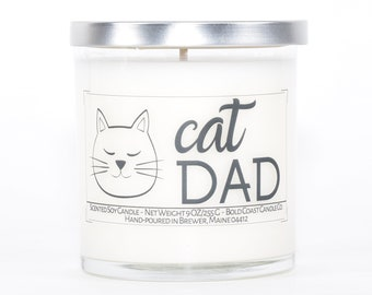 Cat Dad Gift Soy Candle, Cat Lover Gift for Him, Personalized Gift for Dad, Husband Birthday Gift, Fathers Day Gift, Pet Dad, Custom Candle