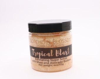 Tropical Blast Exfoliating and Moisturizing Sugar Scrub for Hands and Body, Body Scrub, Spa Gift, Stocking Stuffer, Christmas Gift
