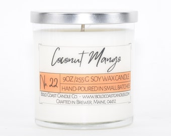 Coconut Mango Scented Soy Candle, Birthday Gift for Her, Mother's Day Gift, Scented Candle Gift, Jar Candle, Housewarming Gift