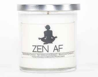 Zen AF Funny Personalized Candle, Yoga Gifts for Her, Meditation Gifts Zen Gift for Boss, Yoga Decor, Funny Meditation Room Decor, Zen Gift