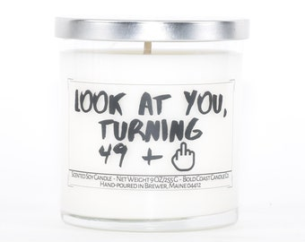 50th Birthday Soy Candle, Funny Birthday Gift, Birthday Gift for Her, Personalized Gift, Sister Gift, Best Friend Gift, Funny Gift for Mom